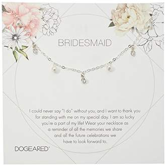 Dogeared Bridesmaid Flower Card Danggling Pearl Chain Necklace