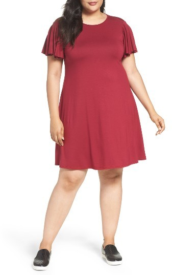 Three DotsPlus Size Women's Three Dots Cutout Back Flounce Dress