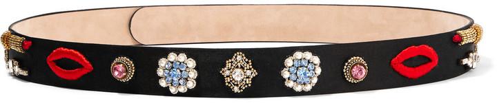 Alexander McQueenAlexander McQueen Embellished embroidered satin waist belt