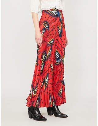 BA&SH Lena feather-print crepe midi skirt