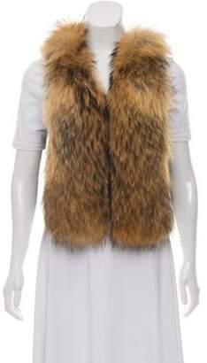 Adrienne Landau Leather & Raccoon Fur Vest Black Leather & Raccoon Fur Vest