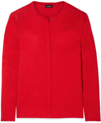 Akris Pointelle-knit Cotton Cardigan - Red