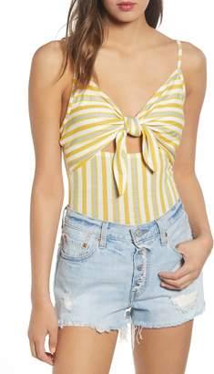 BP Knot Front Stripe Bodysuit
