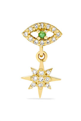 Ileana Makri Eye Star 18-karat Gold, Diamond And Tsavorite Earring