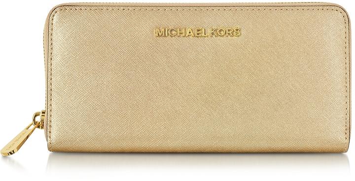 MICHAEL Michael KorsMichael Kors Jet Set Travel Pale Gold Saffiano Leather Continental Wallet