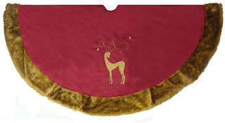 Asstd National Brand 56 Brick Red Noble Reindeer Christmas Tree Skirt with Faux Fur Trim