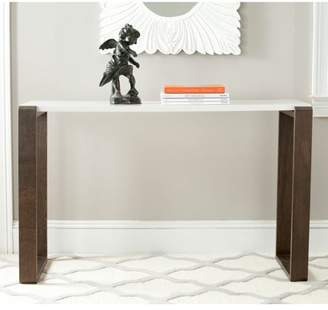 Safavieh Bartholomew Lacquer Console Table, White and Dark Brown