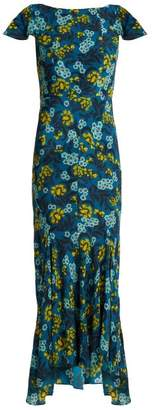 Saloni Daphne Azalea Print Dress - Womens - Blue Multi