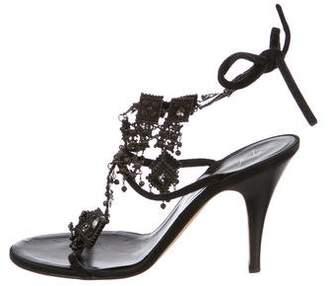 Giuseppe Zanotti Leather Embellished Wrap-Around Sandals
