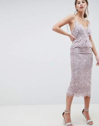Asos Design SALON Scallop Seashell Lace Pencil Midi Dress