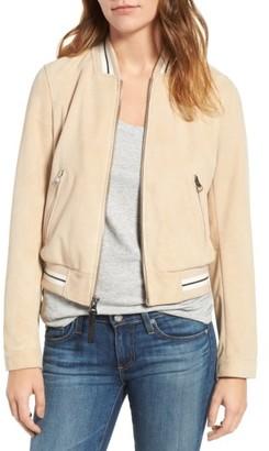 Women's Derek Lam 10 Crosby Suede Varsity Jacket $550 thestylecure.com