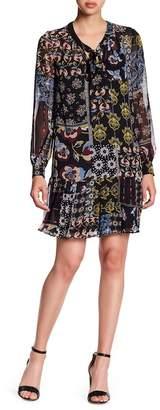 Donna Morgan Pleated Hem Print Chiffon Dress