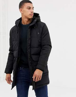 Jack and Jones Core padded parka with multi pockets and fleece lined hood