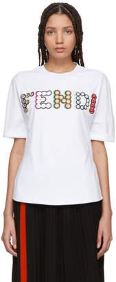 Fendi White Stone Logo T-Shirt
