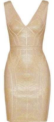 Herve Leger Zinnia Metallic Bandage Mini Dress