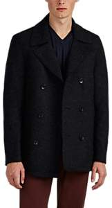 Barneys New York MEN'S WOOL-BLEND FELT DOUBLE-BREASTED PEACOAT - CHARCOAL SIZE XS
