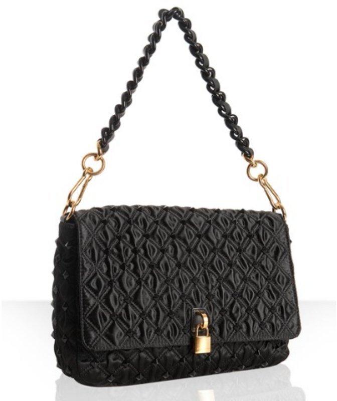 Marc Jacobs black quilted sateen beaded 'Beat' shoulder bag