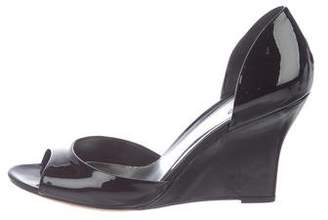 Gucci Patent Leather Peep-Toe Wedges