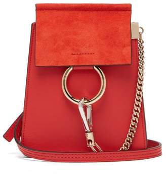 Chloé Faye Mini Suede Panel Leather Cross Body Bag - Womens - Red