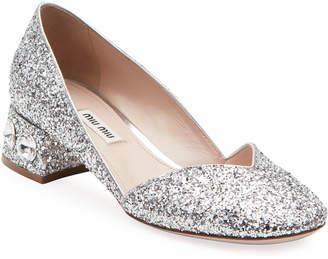 0f5ab708e825 Miu Miu Crystal-Heel Glittered Low Pumps