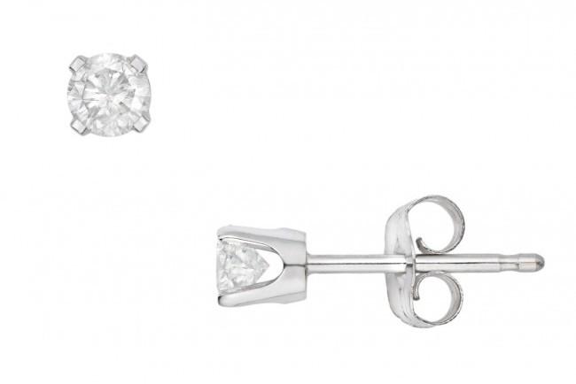 1/3 CT Diamond Stud 14K White Gold Earrings