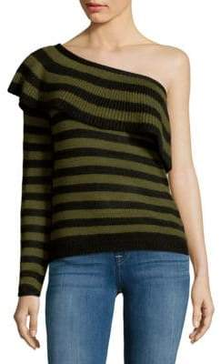 Striped One-Shoulder Sweater