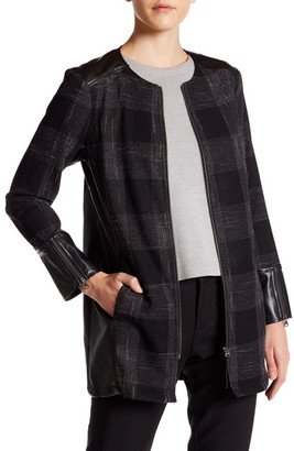 SUSINA Defined Twill & Faux Leather Topper Coat $49.97 thestylecure.com