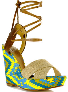 Theodora and Callum - Bali - Blue Multi-Color Pattern Canvas Tie-Up Wedge Sandal