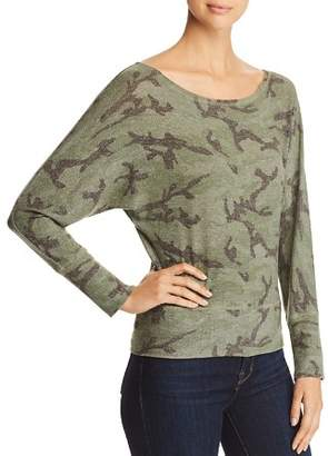 Red Haute Camo Print Dolman Sleeve Top