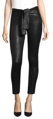 Waist Tie Leather Skinny Pants