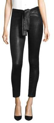 Frame Waist Tie Leather Skinny Pants