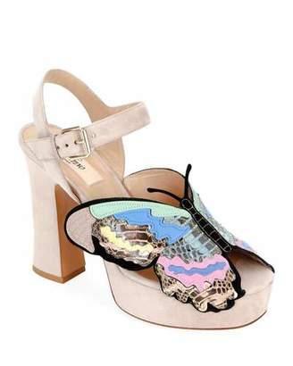 Valentino Suede Butterfly Platform Sandals