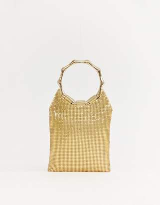 Missguided chain mail ring handle bag in gold