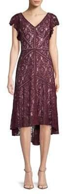 Taylor Flutter-Sleeve Lace Dress