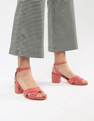 MANGO suedette cross front block heel sandal in pink