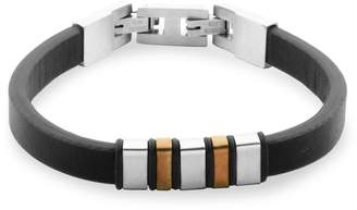 Steelx Stainless Steel Leather Bar Bracelet