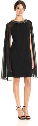 Sandra Darren Women's 1 Pc Sleevelesscrepe and Chiffon Overlay Cape Dress