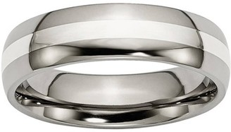 Primal Steel Titanium Sterling Silver Inlay 6mm Polished Band