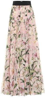 Dolce & Gabbana Floral silk-chiffon maxi skirt