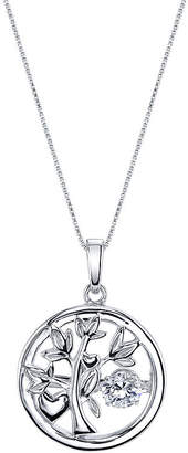 FINE JEWELRY Inspired Moments Dancing Cubic Zirconia Sterling Silver Family Tree Pendant Necklace