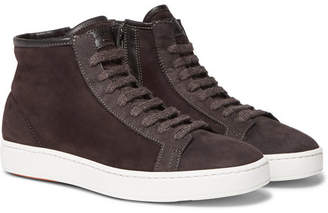 Santoni Shearling-Lined Suede High-Top Sneakers