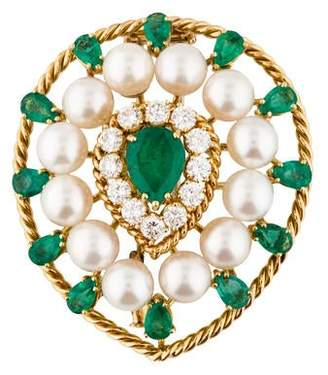 18K Emerald, Diamond and Pearl Brooch