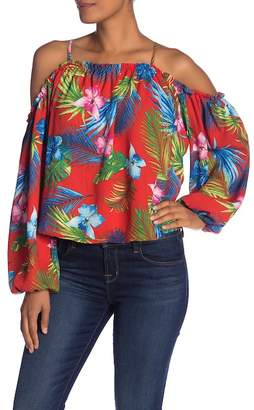 Romeo & Juliet Couture Patterned Cold Shoulder Long Sleeve Blouse