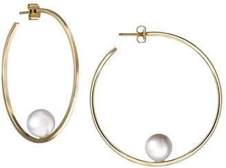 Janis Savitt White Pearl Hoop Earrings - Yellow Gold