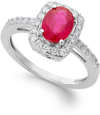 Macy's Gemstone and White Sapphire Oval Ring in Sterling Silver (1-1/2 ct. t.w.)