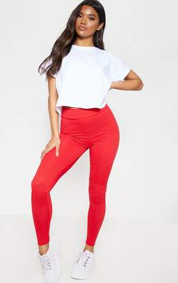 PrettyLittleThing Red Ribbed High Waisted Leggings