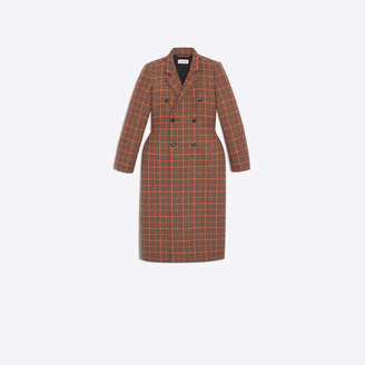 Balenciaga 3D Houndstooth wool double breasted coat