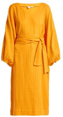 Rhode Resort - Delilah Belted Cotton Midi Dress - Womens - Yellow