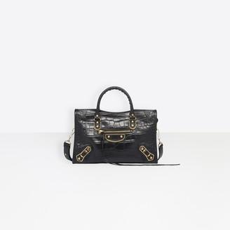 Balenciaga Small size calfskin crocodile effect hand carry and shoulder bag with metallic edge hardware