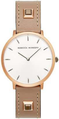 Rebecca Minkoff Major Embellished Leather Strap Watch, 35mm